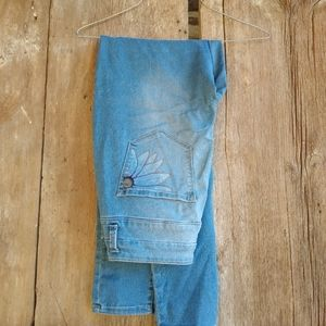 Hand drawn floral art on ladies Mudd jeans size 9